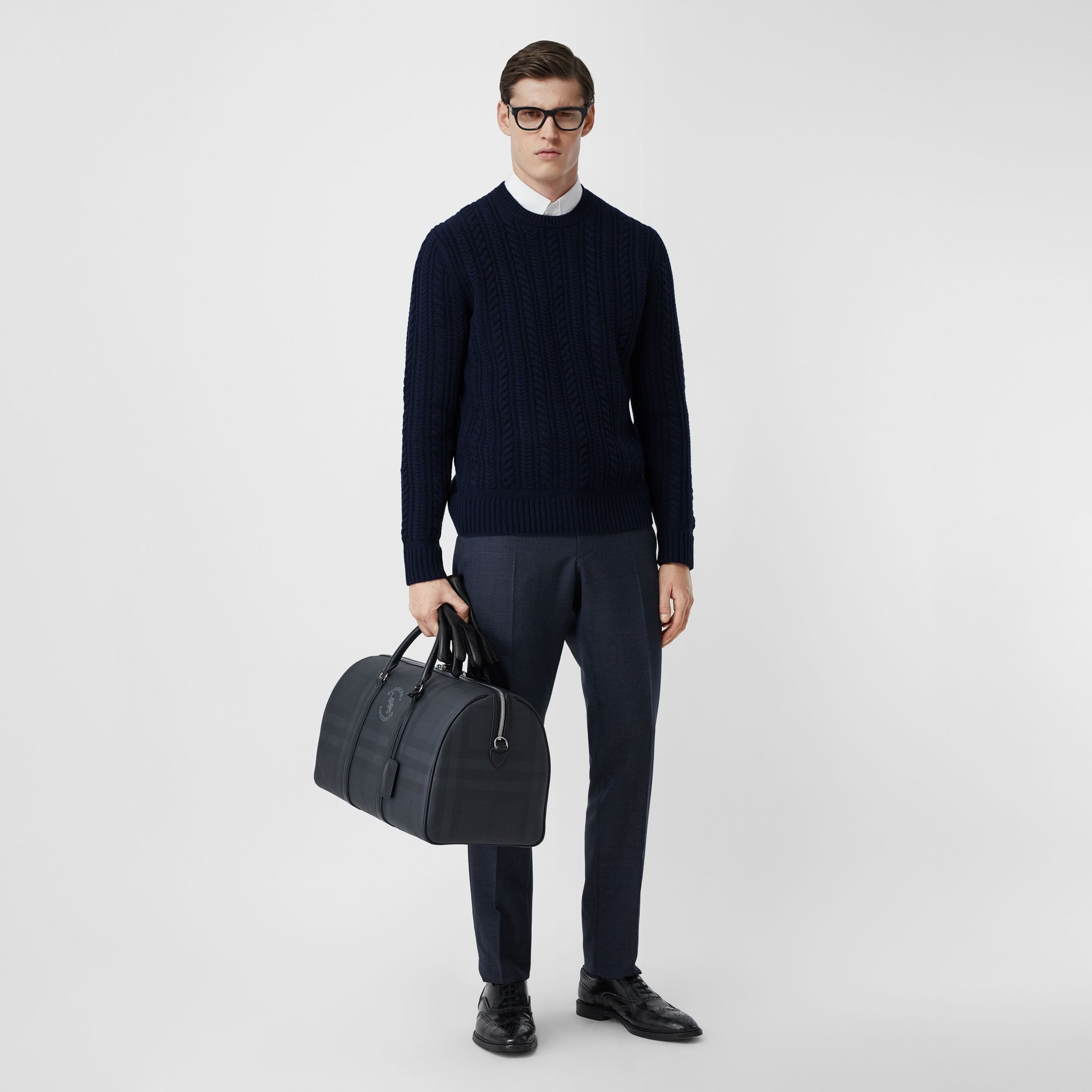 Cable Knit Cashmere Sweater in Navy - Men | Burberry - 1