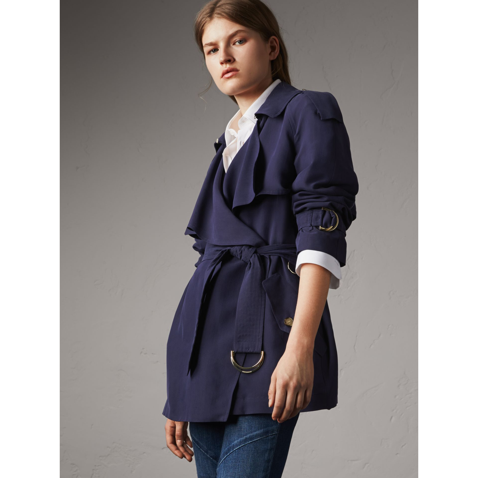 Silk Wrap Trench Jacket in Navy - Women | Burberry - gallery image 7