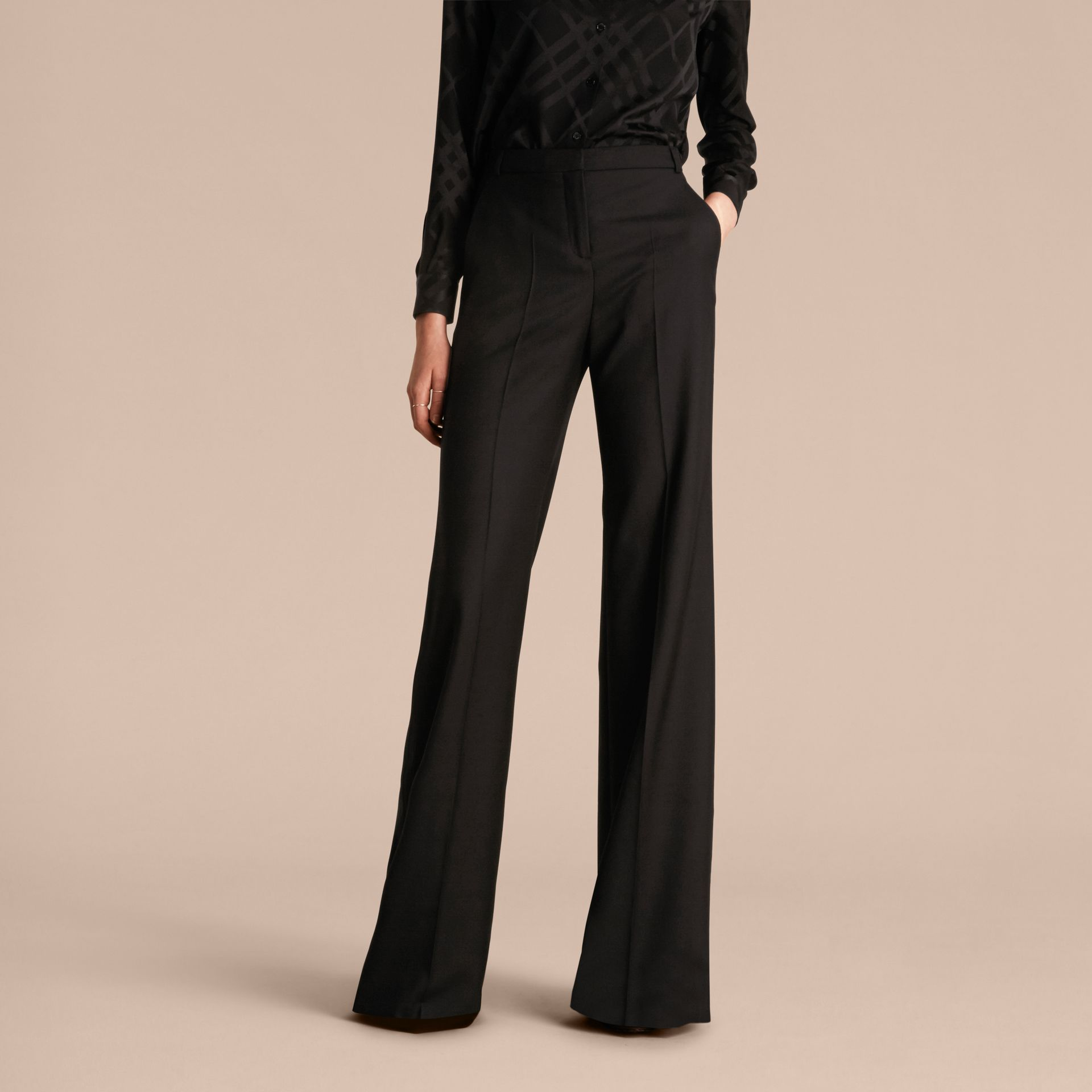 Black Wide-leg Wool Trousers - gallery image 6