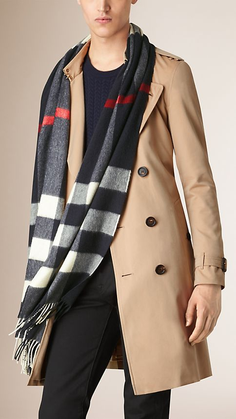 Giant Exploded Check Cashmere Scarf - Image 3