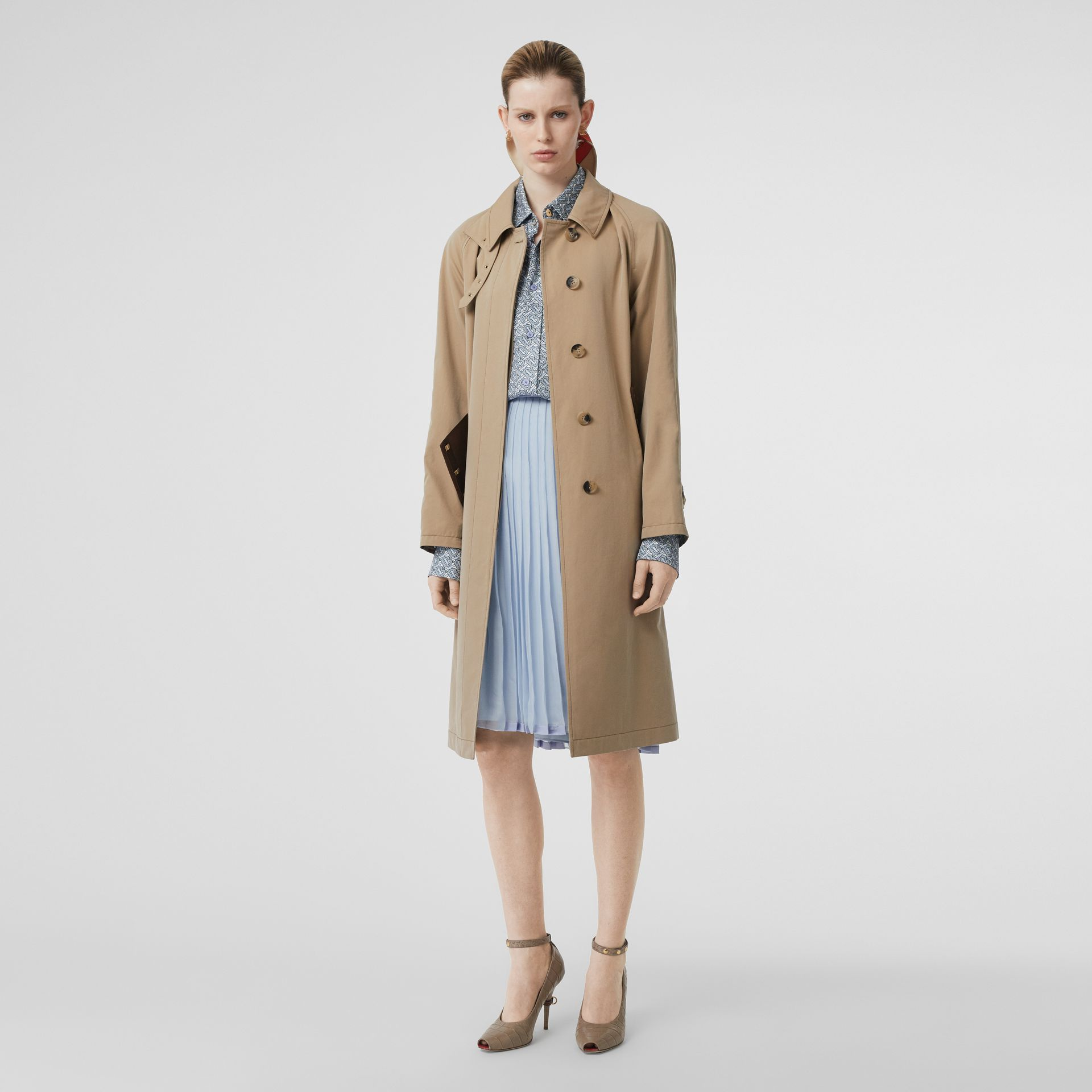 Contrast Trim Pleated Skirt in Pale Blue - Women | Burberry - gallery image 0