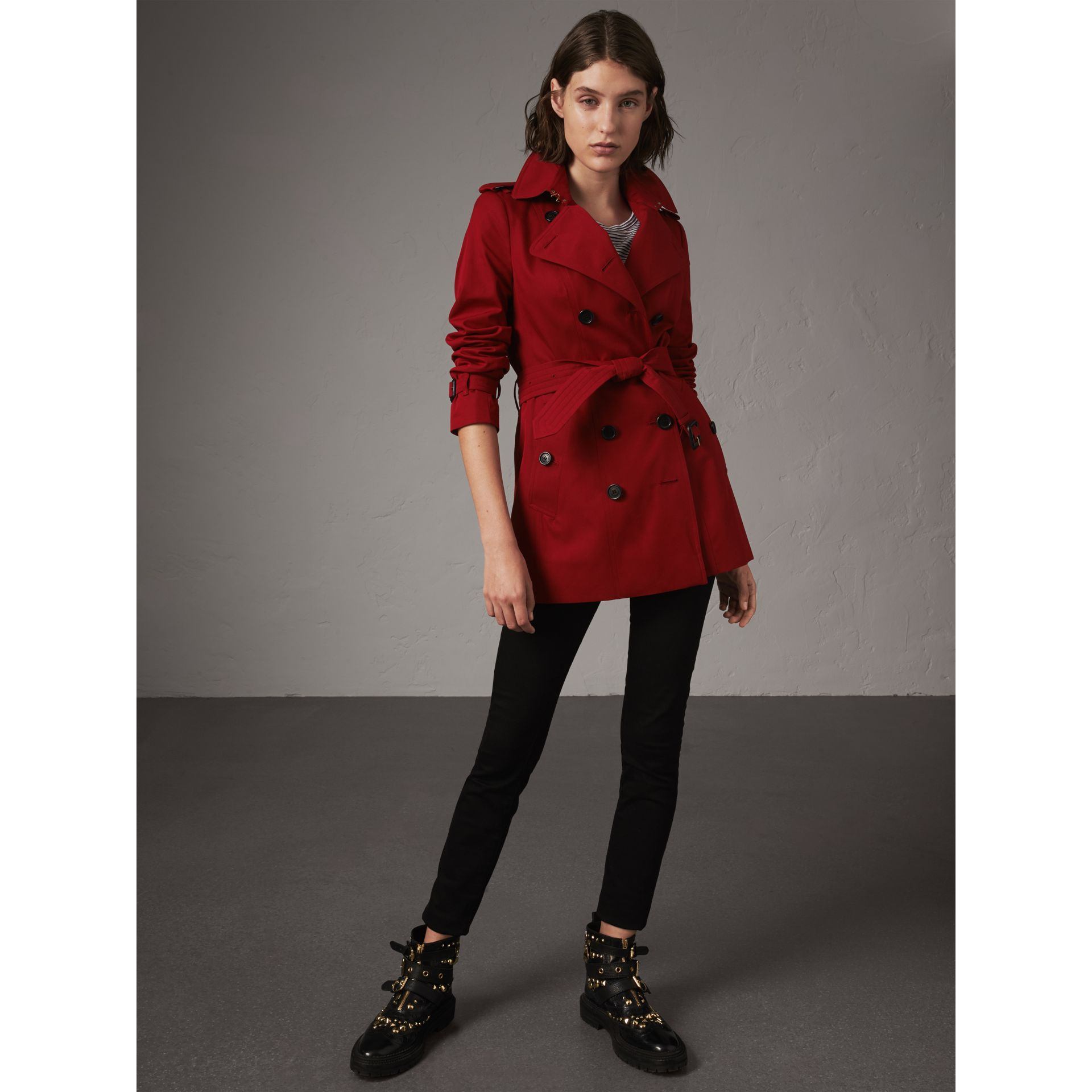 The Sandringham – Short Trench Coat in Parade Red - Women | Burberry - gallery image 7