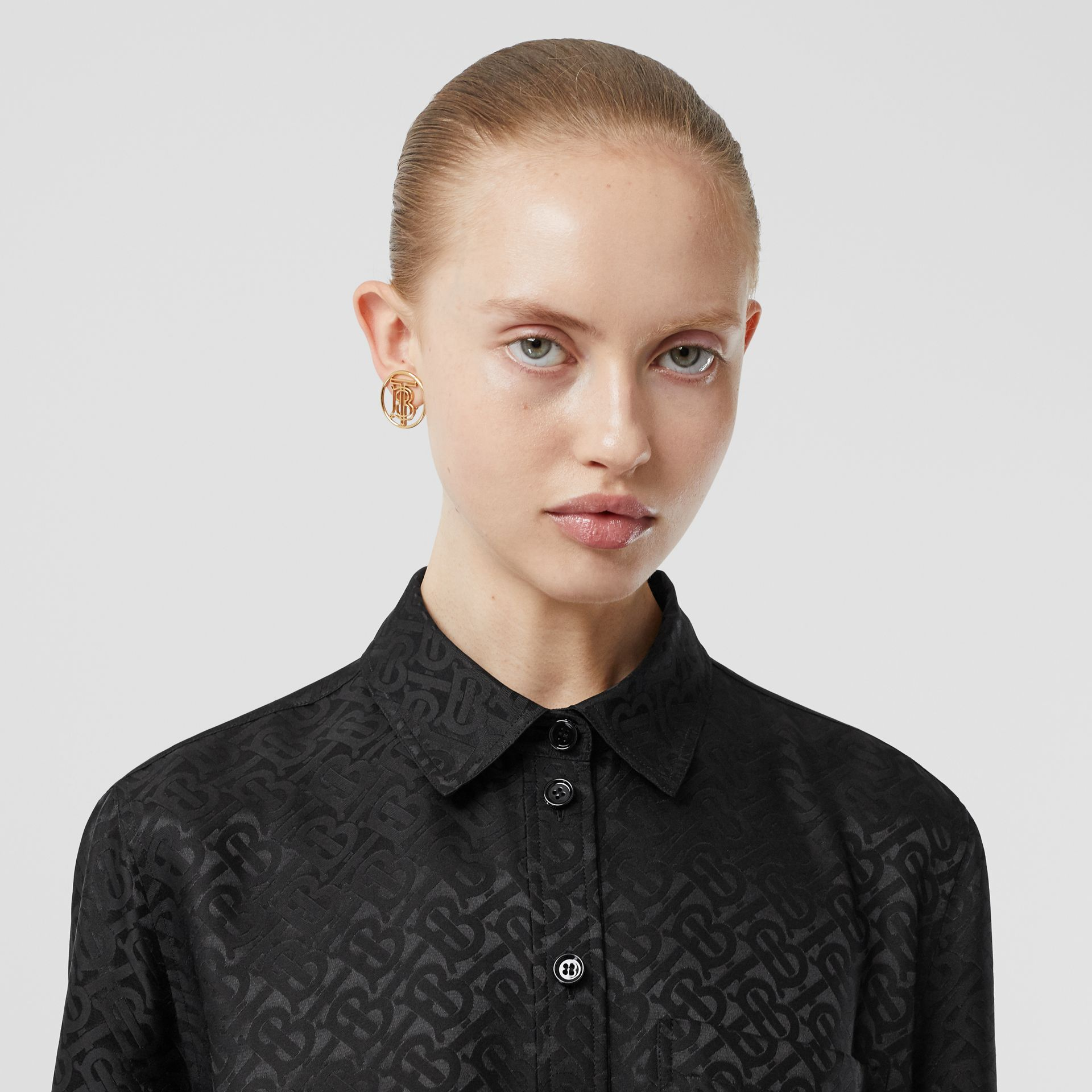 Monogram Silk Jacquard Shirt in Black - Women | Burberry United Kingdom - gallery image 1