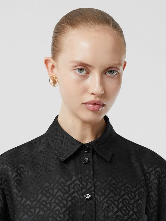 Monogram Silk Jacquard Shirt in Black - Women | Burberry United Kingdom - cell image 1