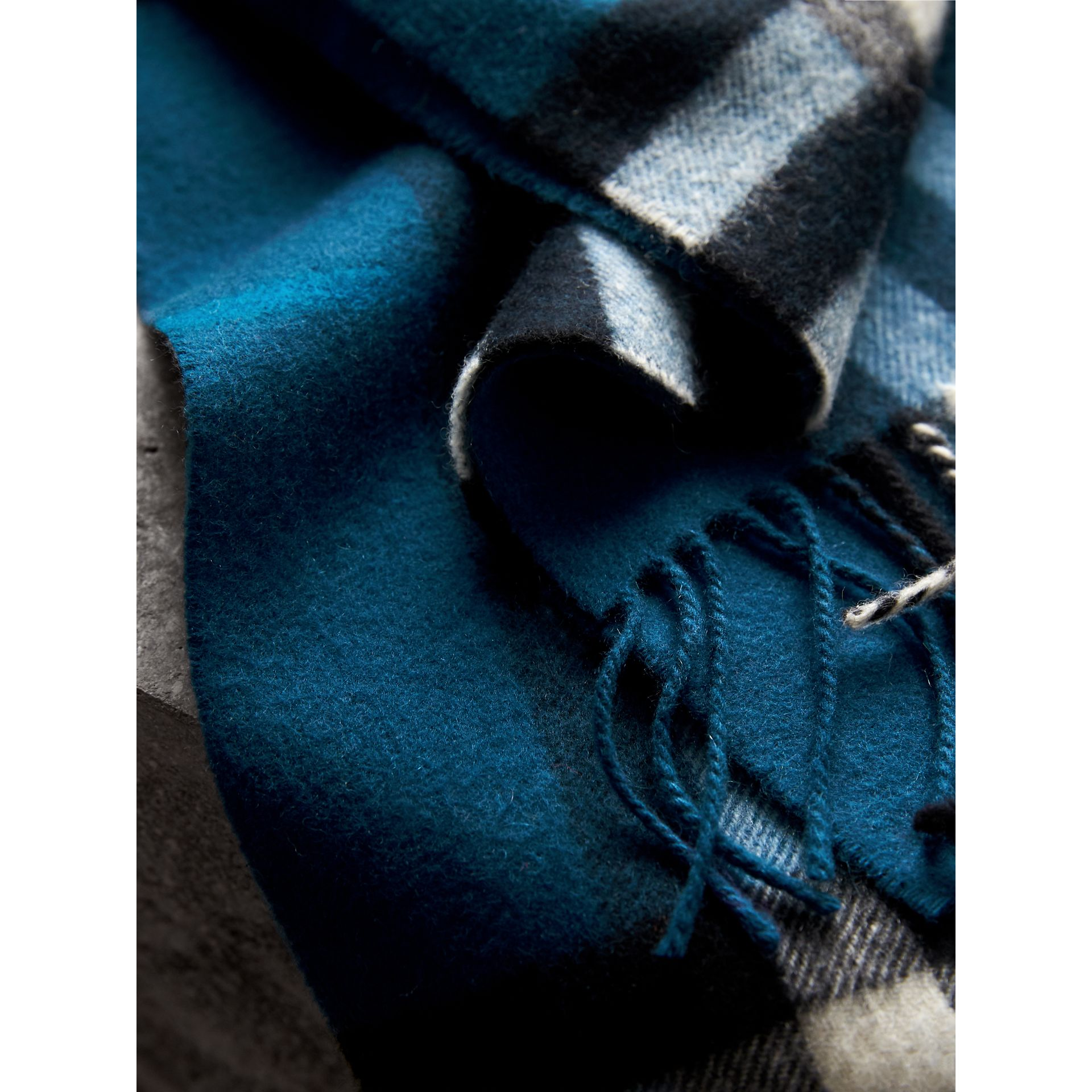 The Classic Check Cashmere Scarf in Marine Blue | Burberry - gallery image 5