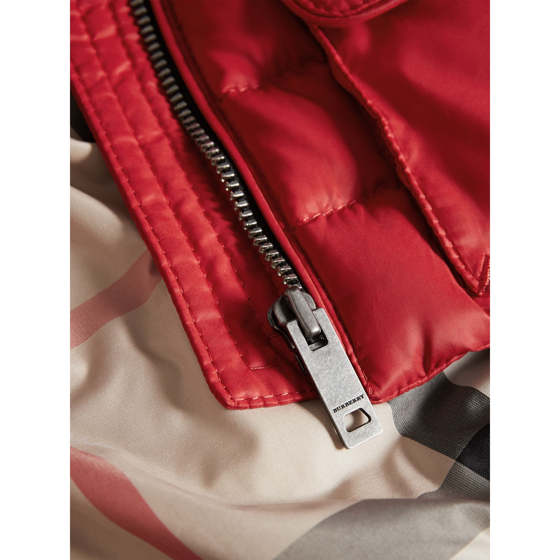 Detachable Hood Down-filled Gilet in Bright Cherry Red | Burberry Australia - gallery image 1