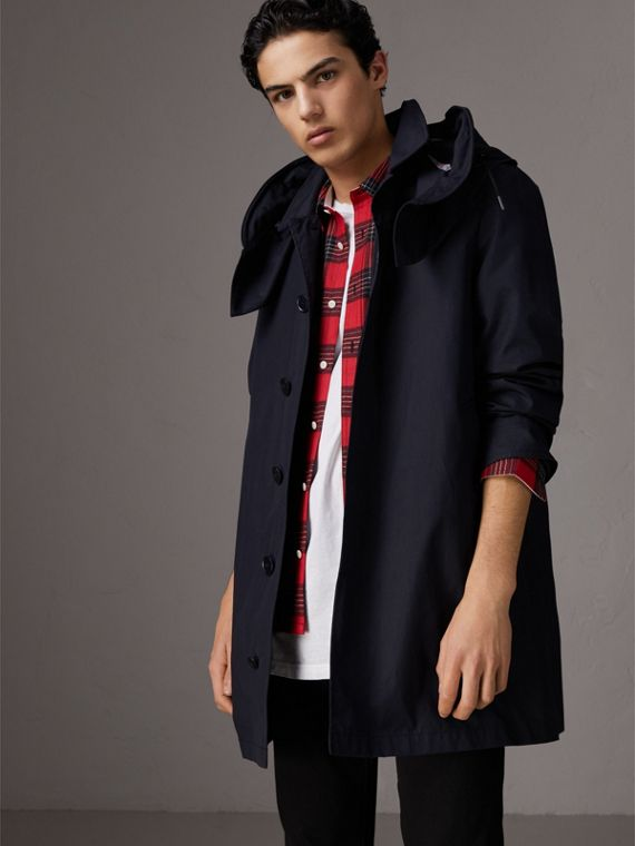 Detachable Hood Cotton Blend Car Coat with Warmer in Navy