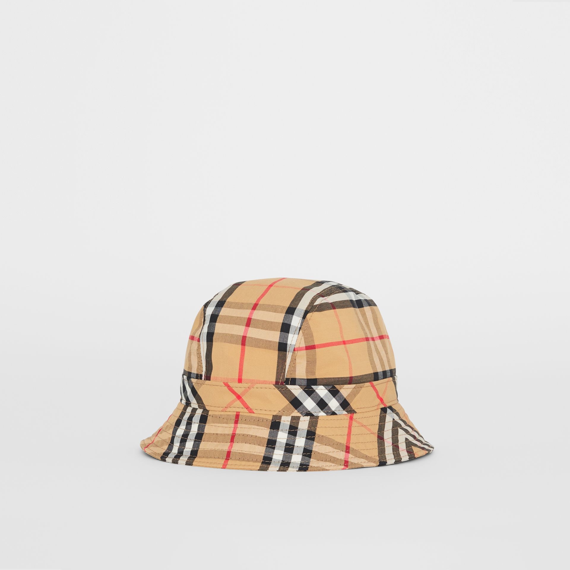 7a50fa0916a Vintage Check Cotton Bucket Hat in Antique Yellow