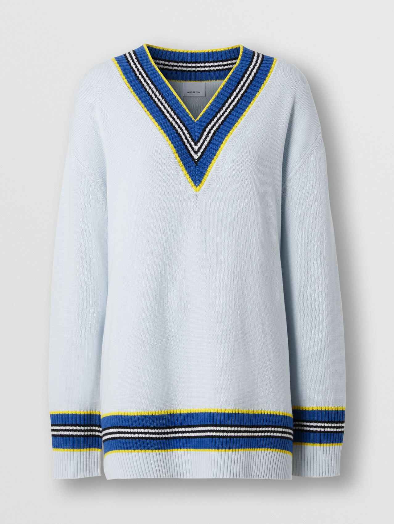 Cotton Oversized Cricket Sweater in Pale Blue