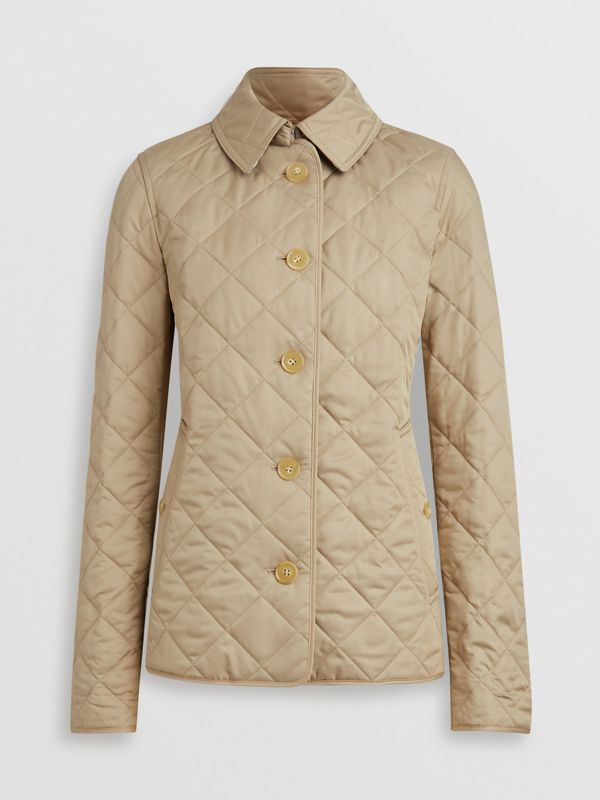 Diamond Quilted Jacket in Canvas - Women | Burberry United Kingdom - cell image 3