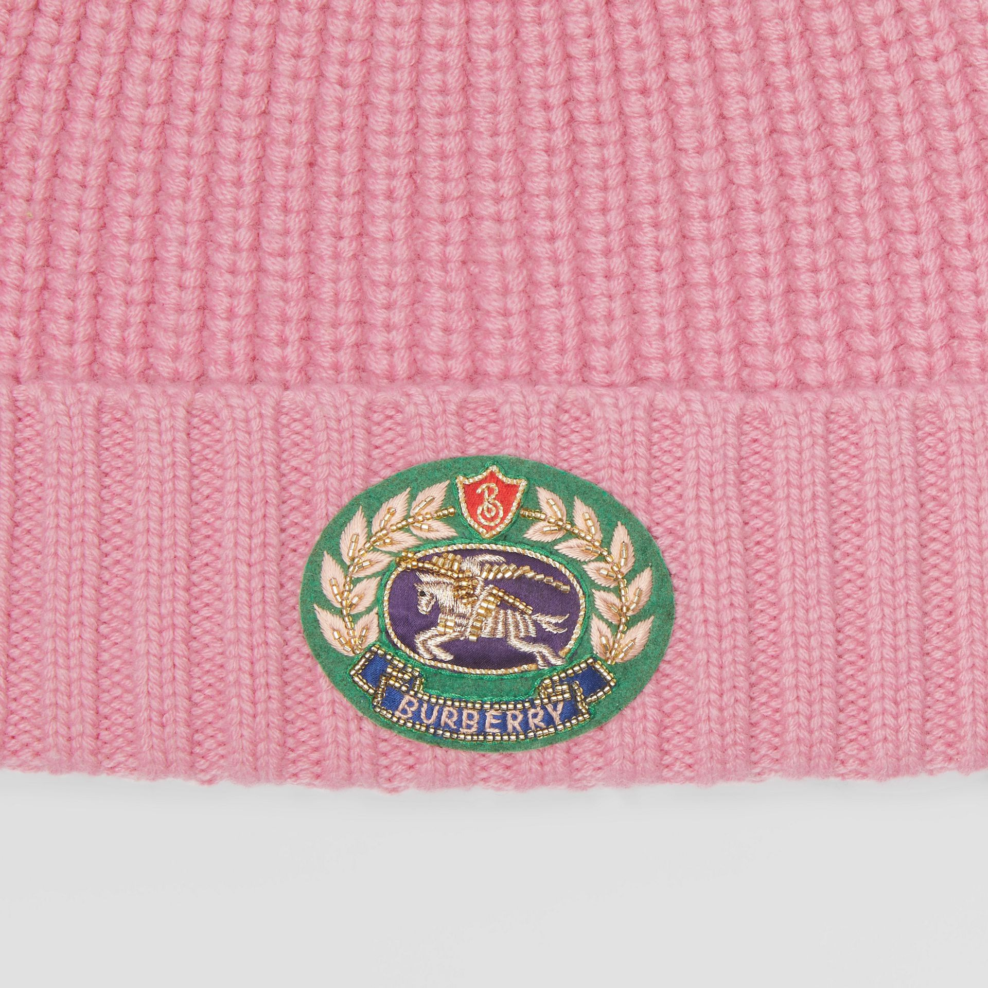 Embroidered Crest Rib Knit Wool Cashmere Beanie in Rose Pink | Burberry United Kingdom - gallery image 1