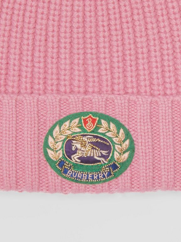 Embroidered Crest Rib Knit Wool Cashmere Beanie in Rose Pink | Burberry - cell image 1