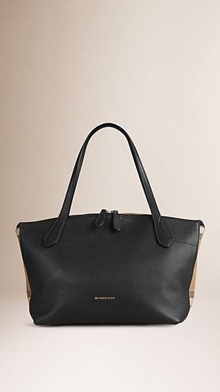 Medium Leather and House Check Tote Bag