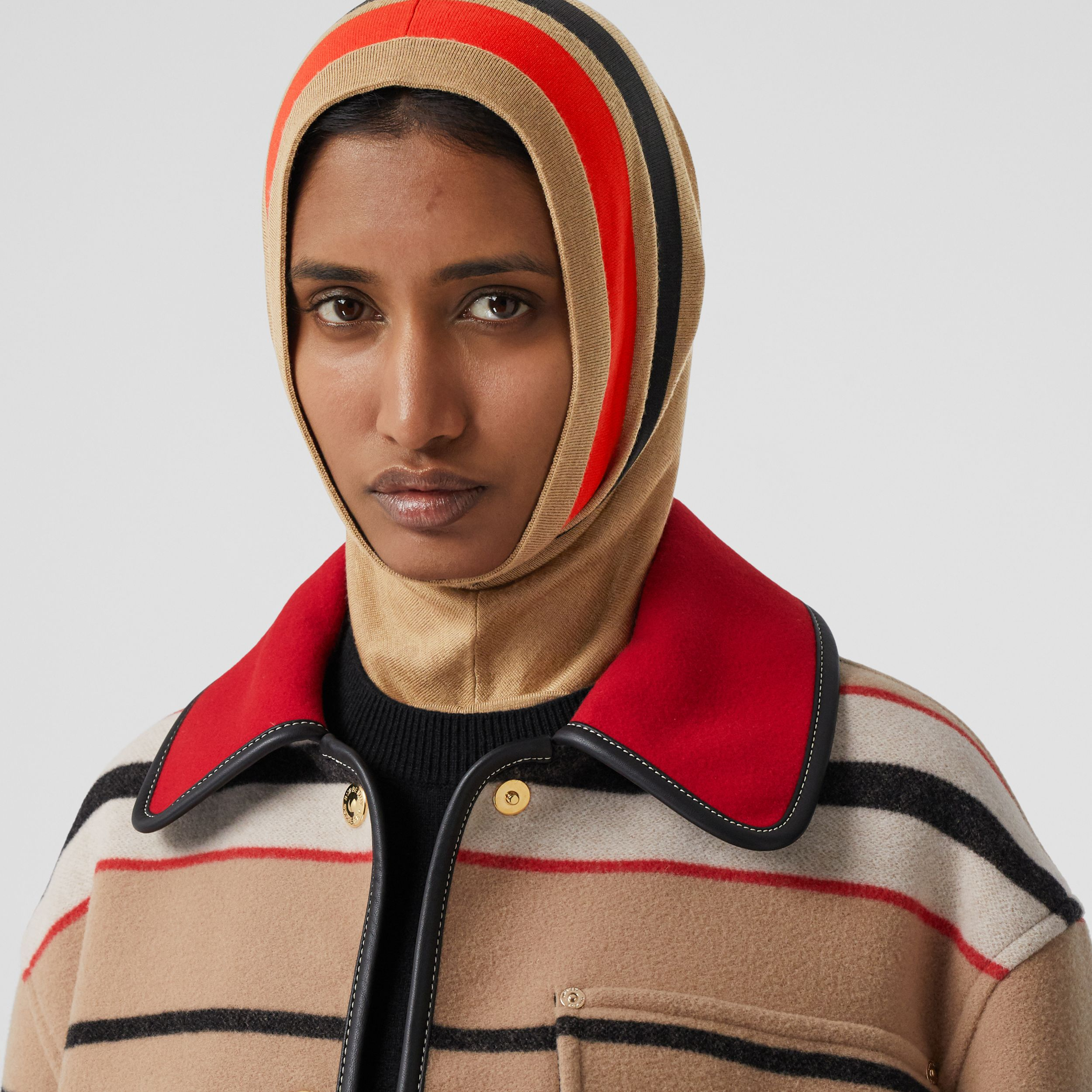 Stripe Detail Merino Wool Hood in Warm Camel | Burberry - 2
