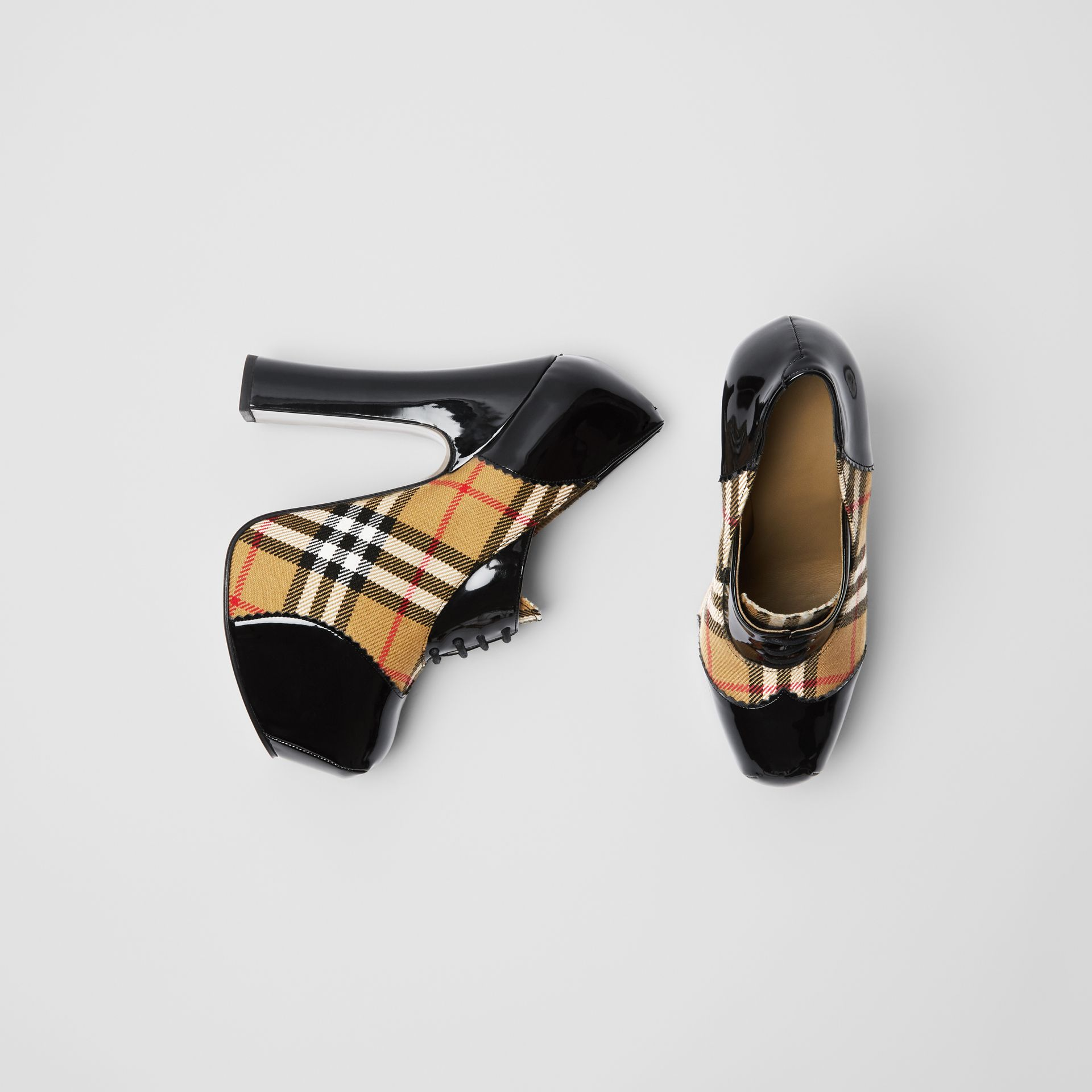 Vintage Check and Patent Lace-up Platforms in Black - Women | Burberry - gallery image 0