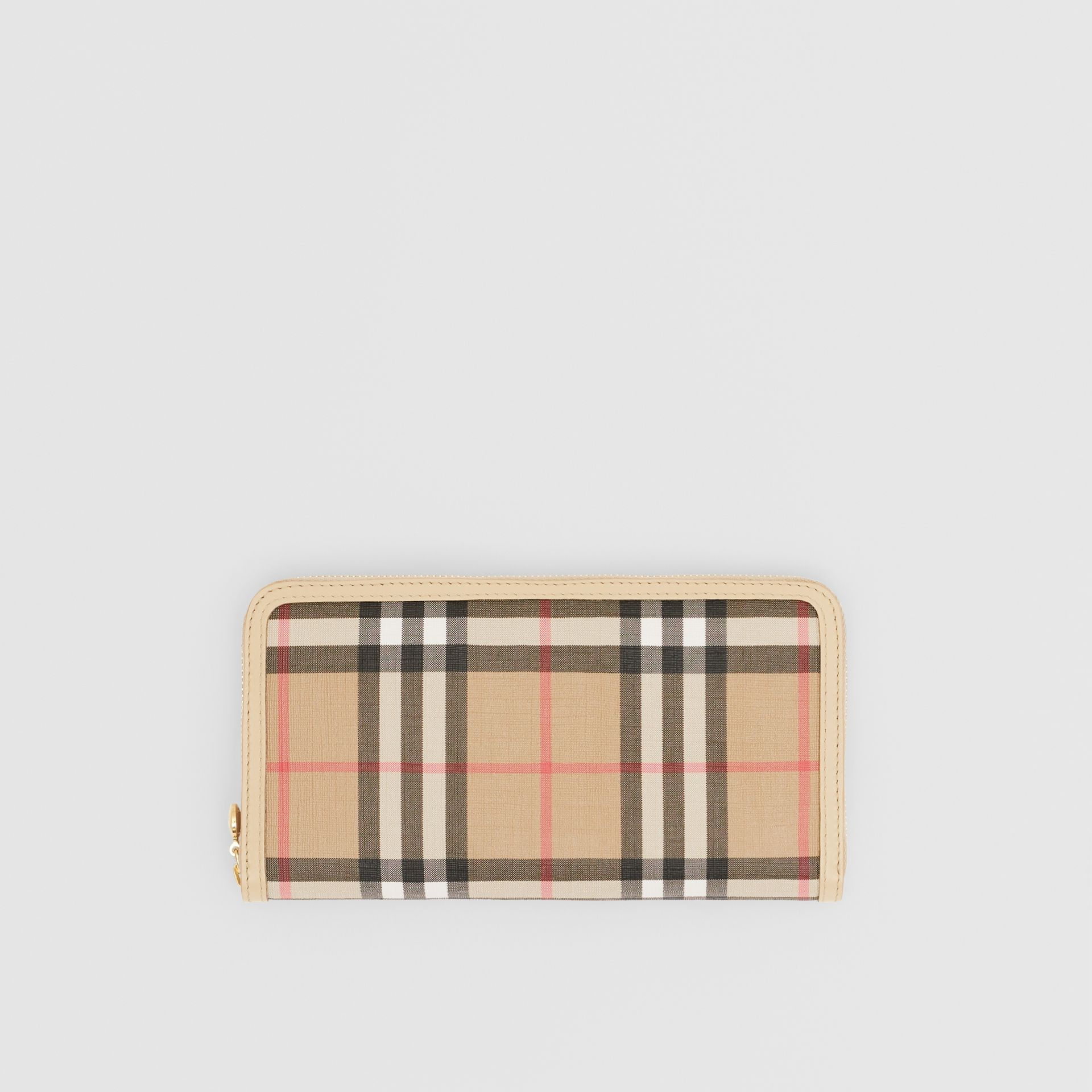 Vintage Check E-canvas and Leather Wallet in Beige - Women | Burberry Hong Kong S.A.R - gallery image 0