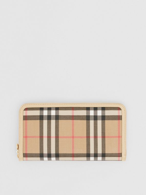 Vintage Check E-canvas and Leather Wallet in Beige