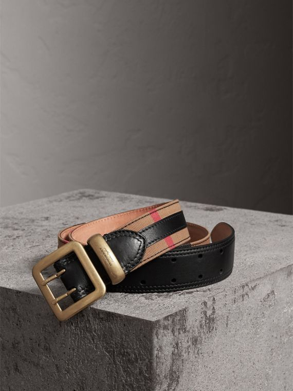 Topstitched House Check and Leather Belt in Black
