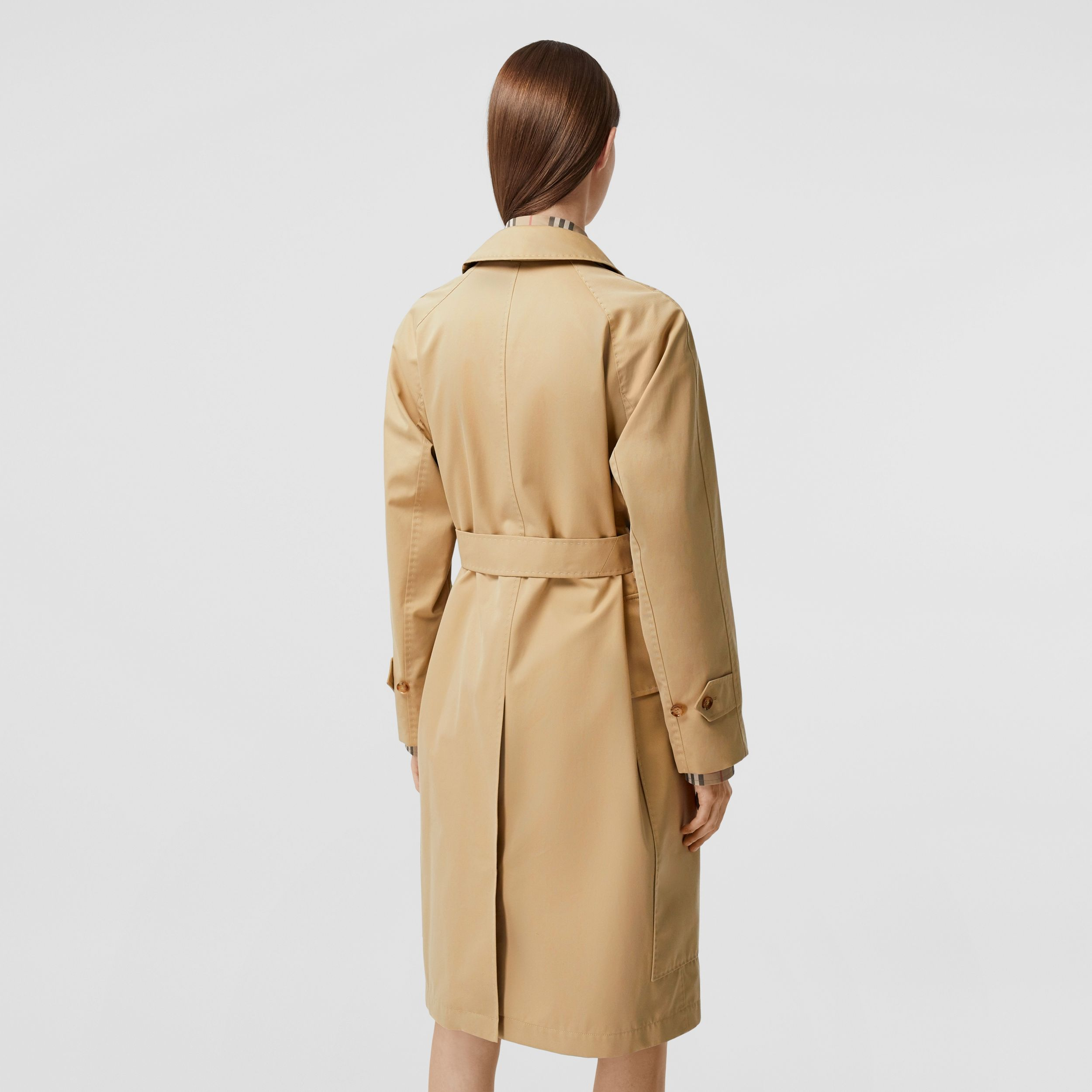 Cotton Gabardine Belted Car Coat in Honey - Women | Burberry - 3