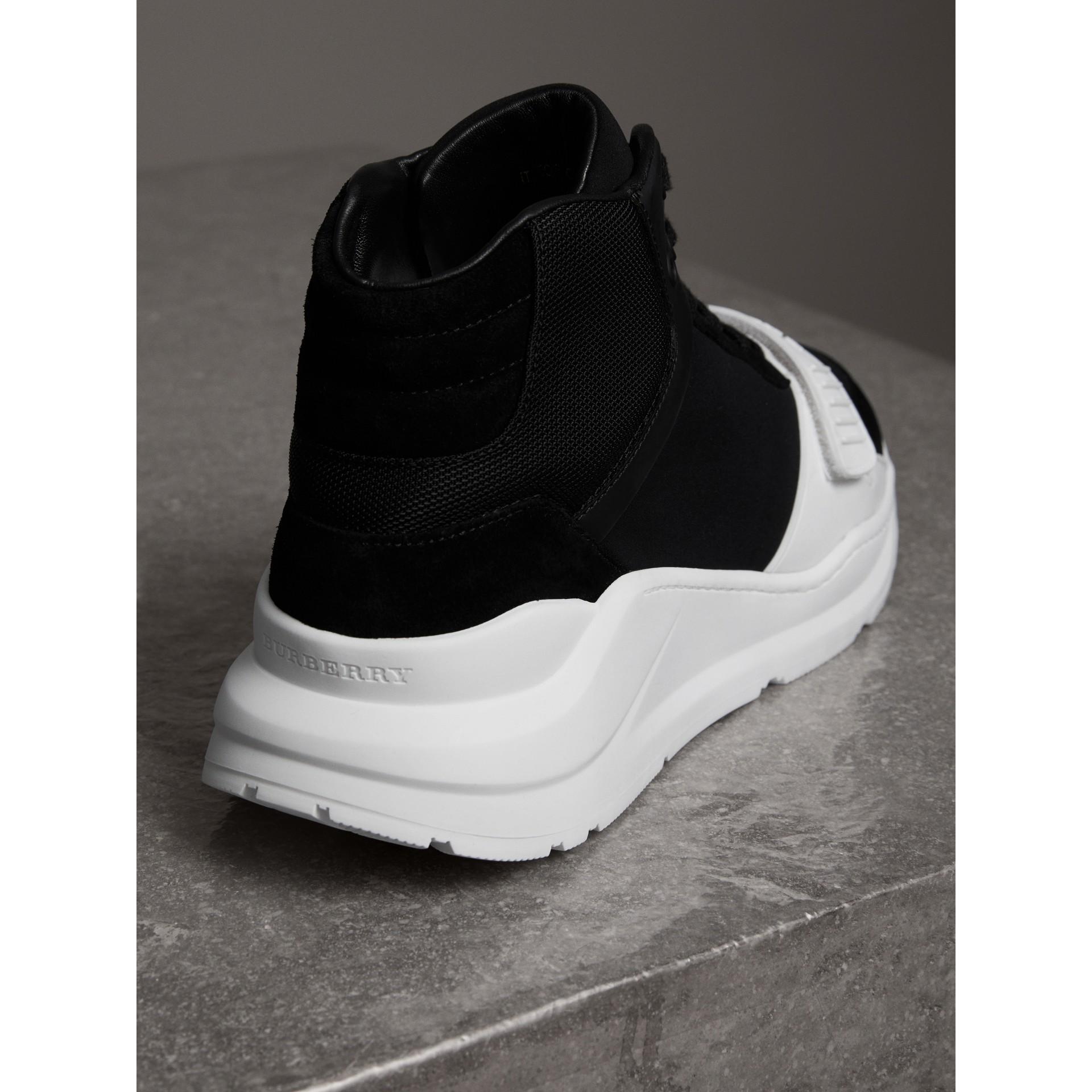 Suede and Neoprene High-top Sneakers in Black - Women | Burberry - gallery image 3