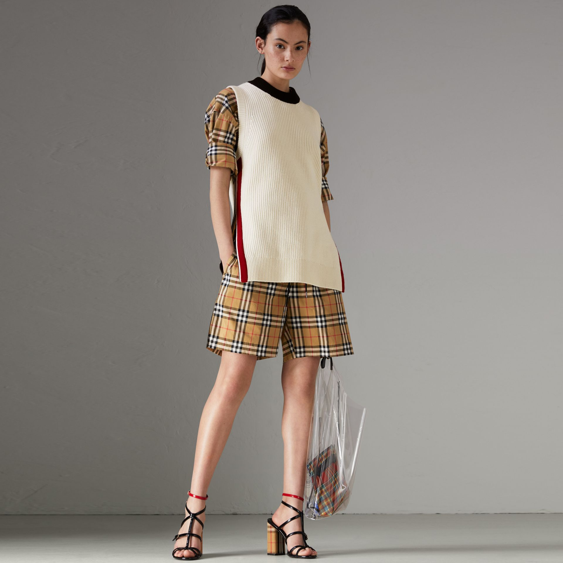 Vintage Check Cotton Drawcord Shorts in Antique Yellow - Women | Burberry - gallery image 0
