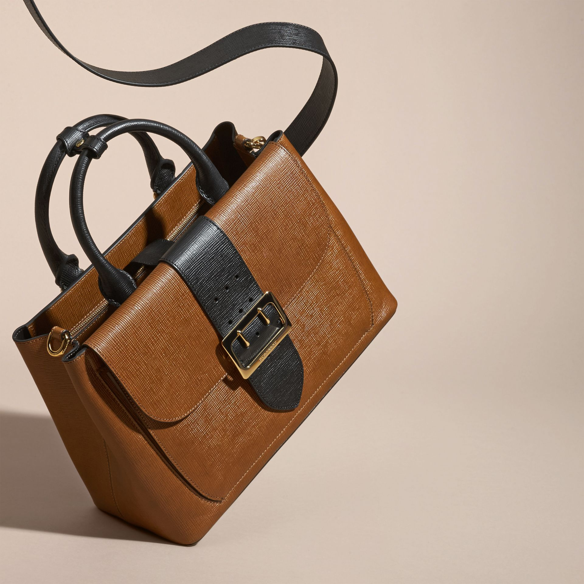 Tan The Medium Saddle Bag in Textured Bonded Leather - gallery image 8