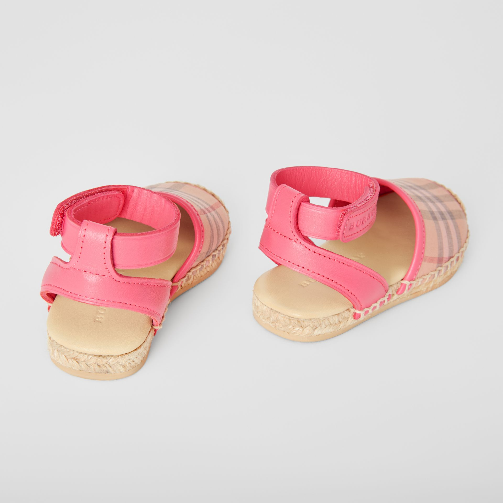 Check and Leather Espadrille Sandals in Bright Rose - Children | Burberry Canada - gallery image 2