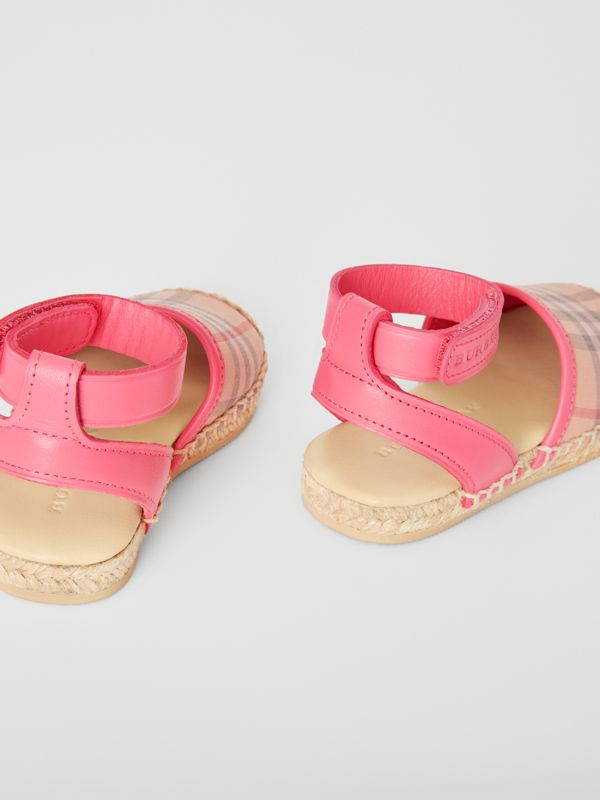 Check and Leather Espadrille Sandals in Bright Rose - Children | Burberry Canada - cell image 2