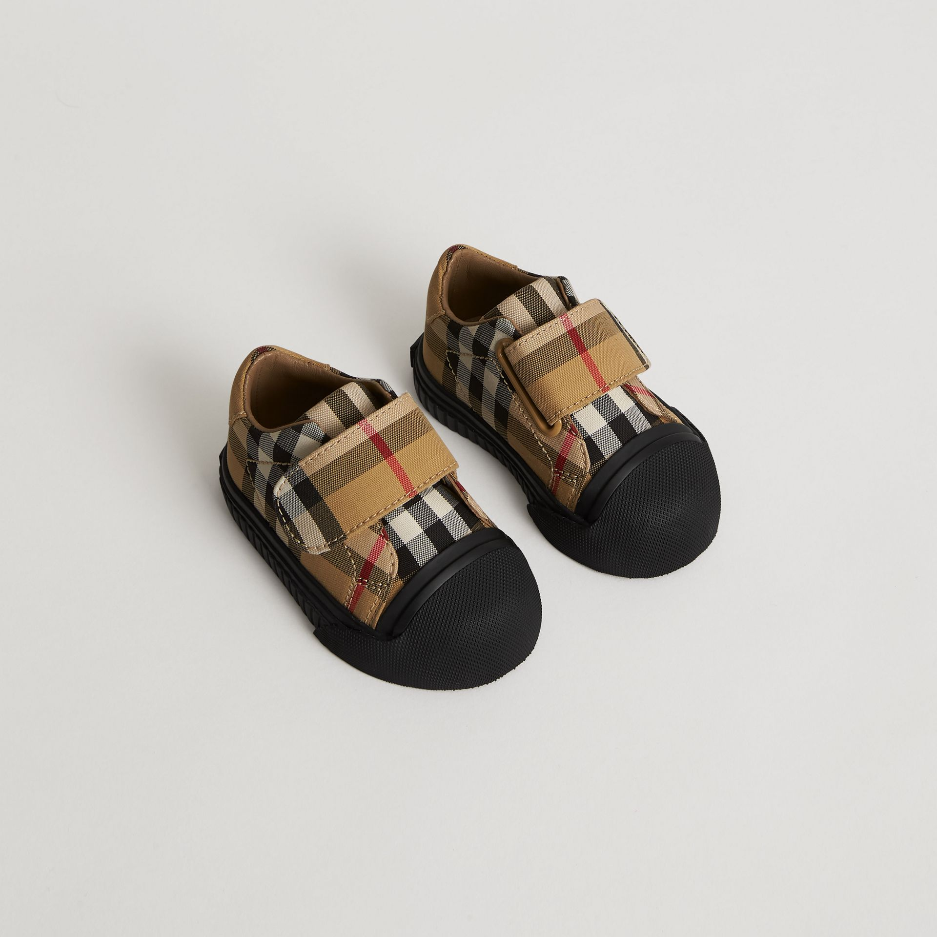 Vintage Check and Leather Sneakers in Antique Yellow/black - Children | Burberry Australia - gallery image 0