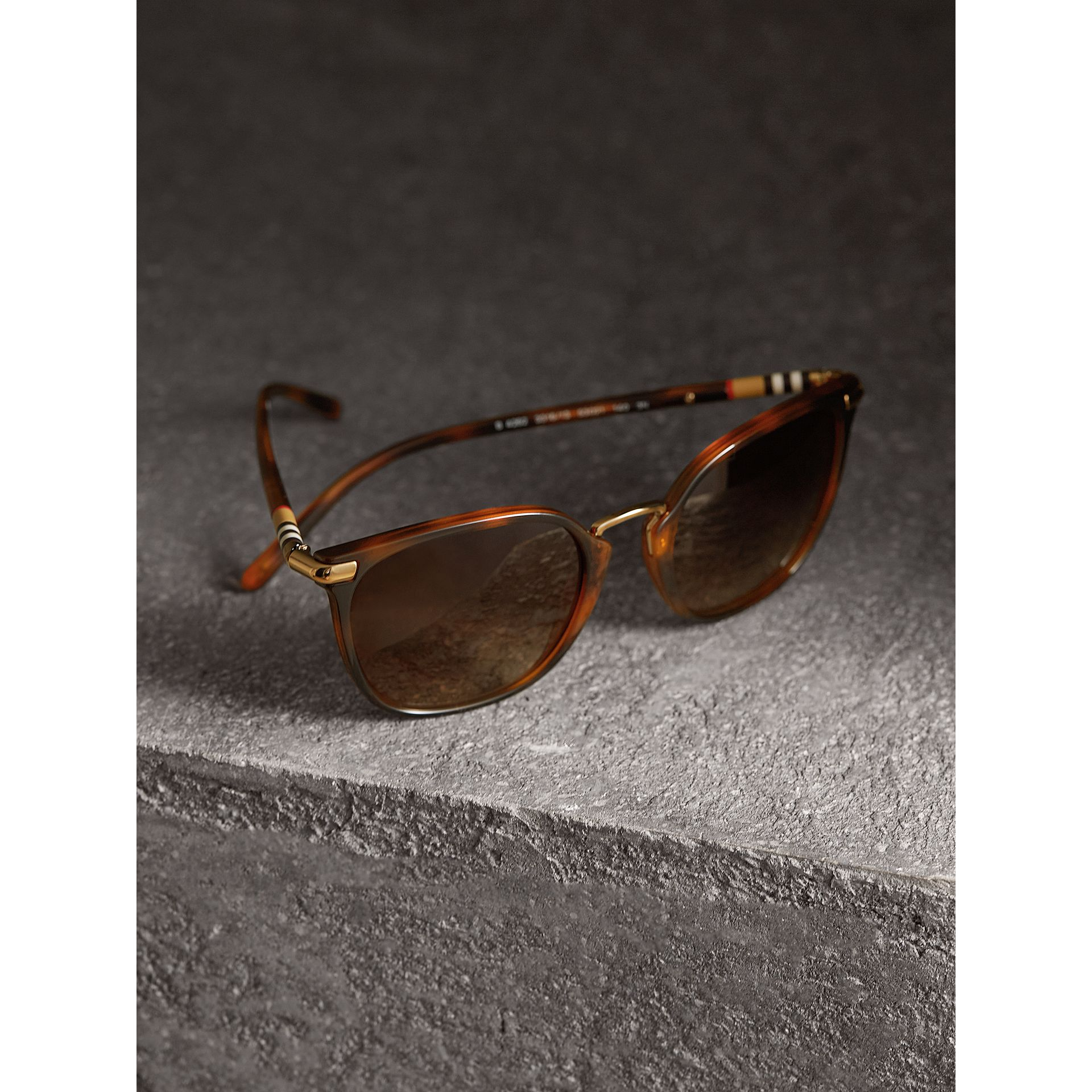 Check Detail Square Frame Sunglasses in Tortoise Shell - Women | Burberry United States - gallery image 2