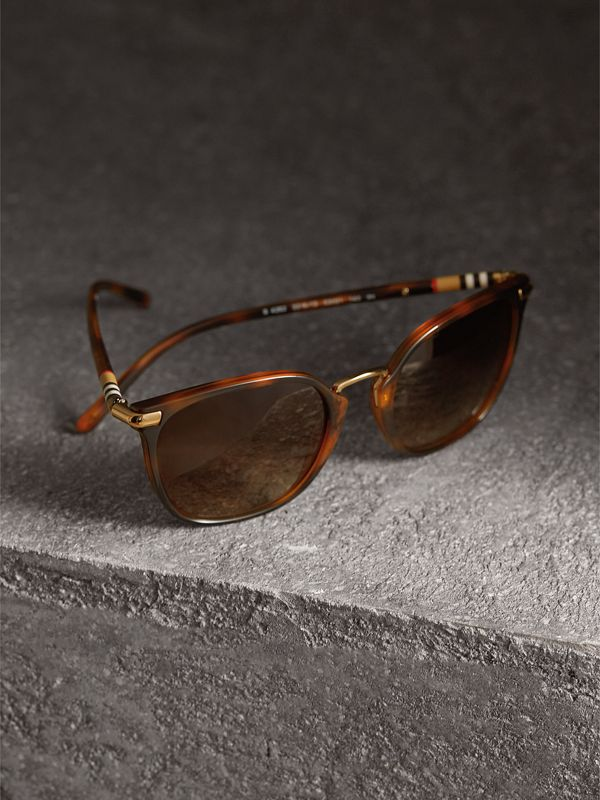 Check Detail Square Frame Sunglasses in Tortoise Shell - Women | Burberry - cell image 2