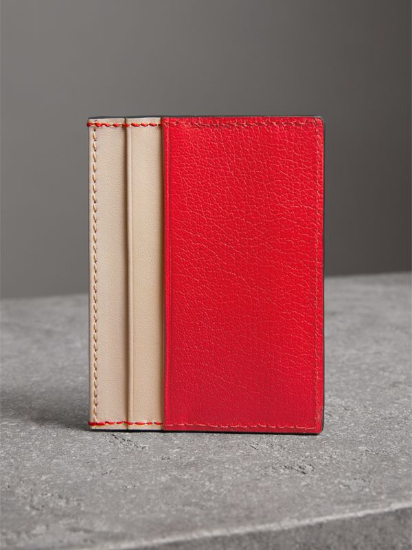 Two-tone Leather Card Case in Bright Red | Burberry - cell image 2