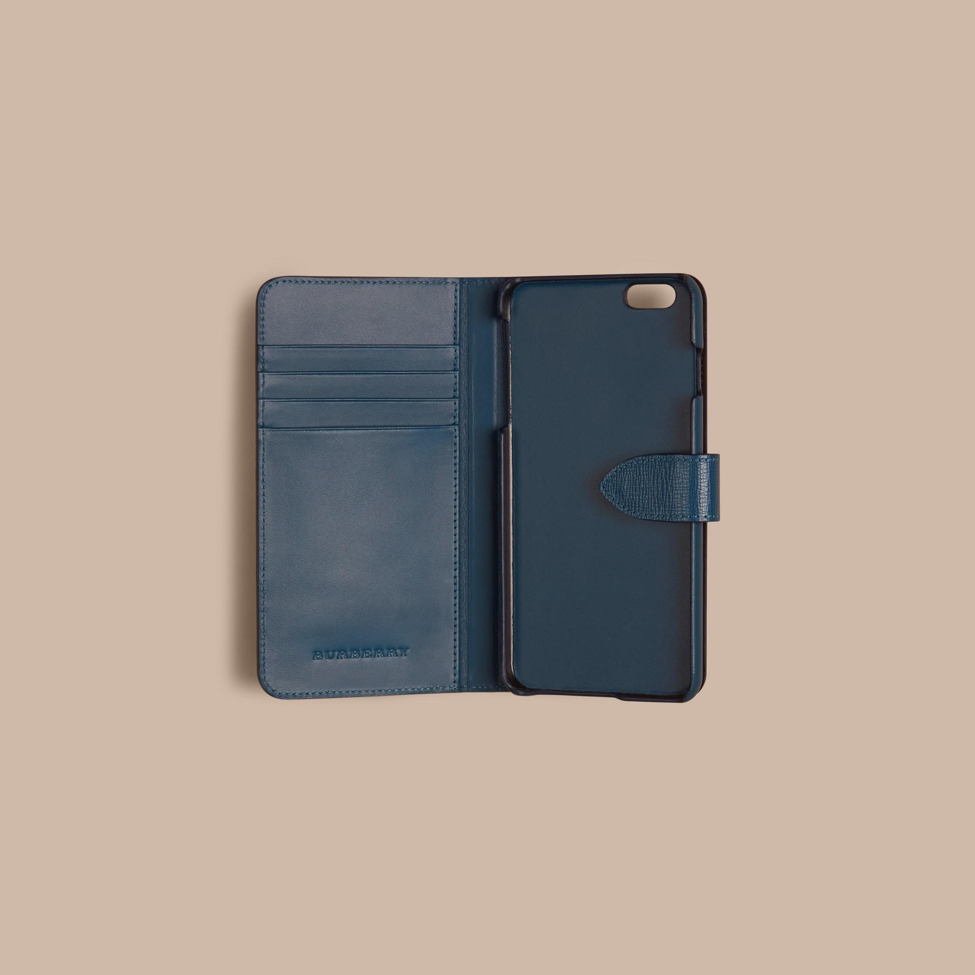 Bleu minéral Étui à rabat pour iPhone6Plus en cuir London Bleu Minéral - photo de la galerie 2