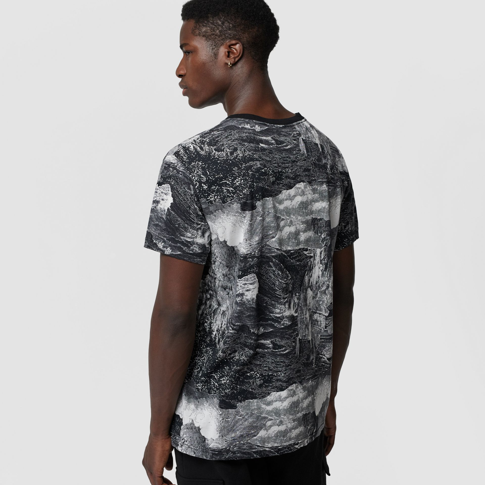 Dreamscape Print Cotton T-shirt in Black - Men | Burberry United Kingdom - gallery image 2