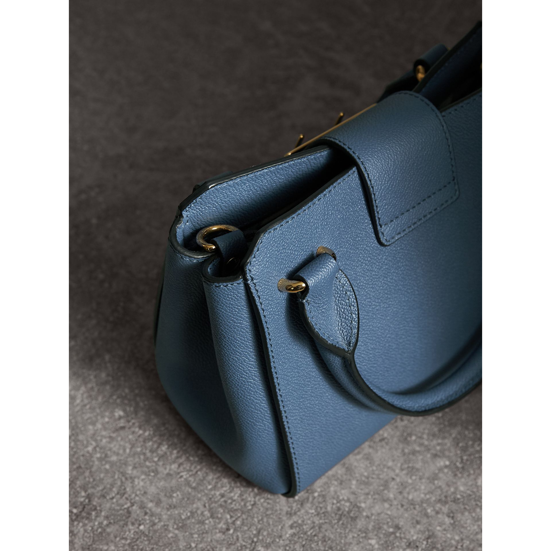 The Small Buckle Tote in Grainy Leather in Steel Blue - Women | Burberry - gallery image 5