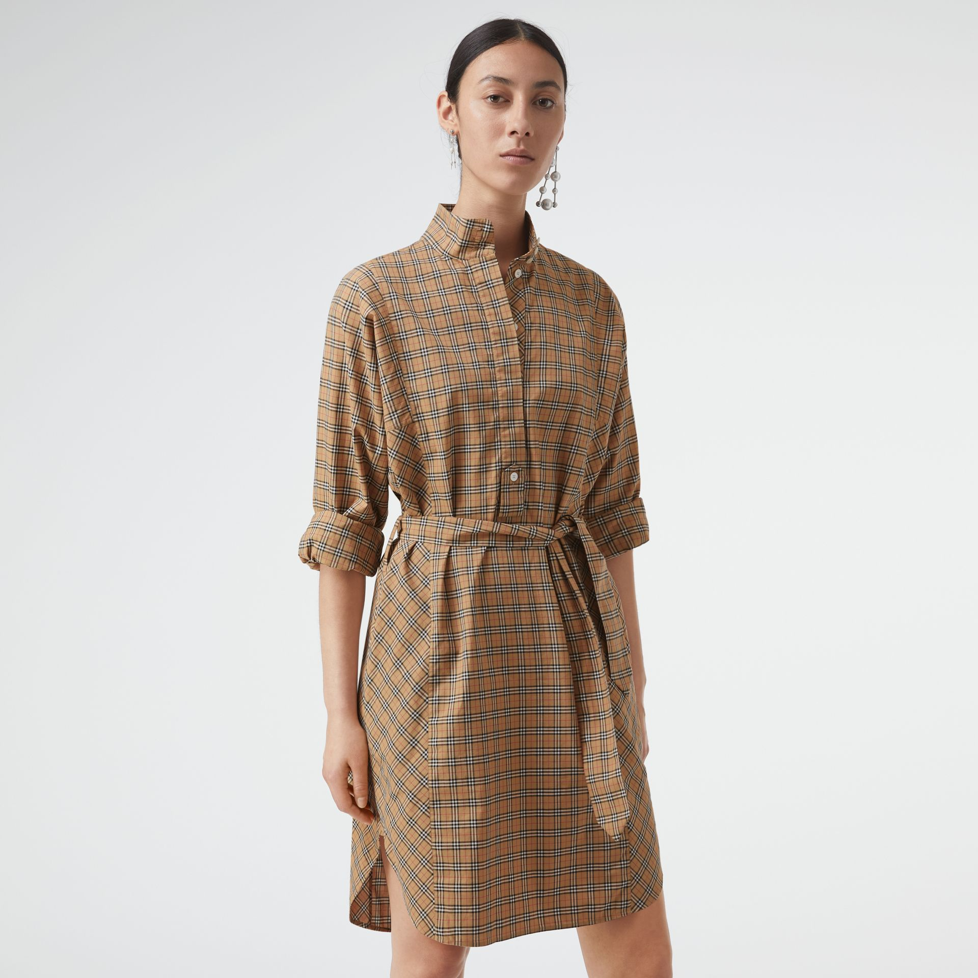 Check Cotton Tie-waist Shirt Dress in Antique Yellow - Women | Burberry Australia - gallery image 4
