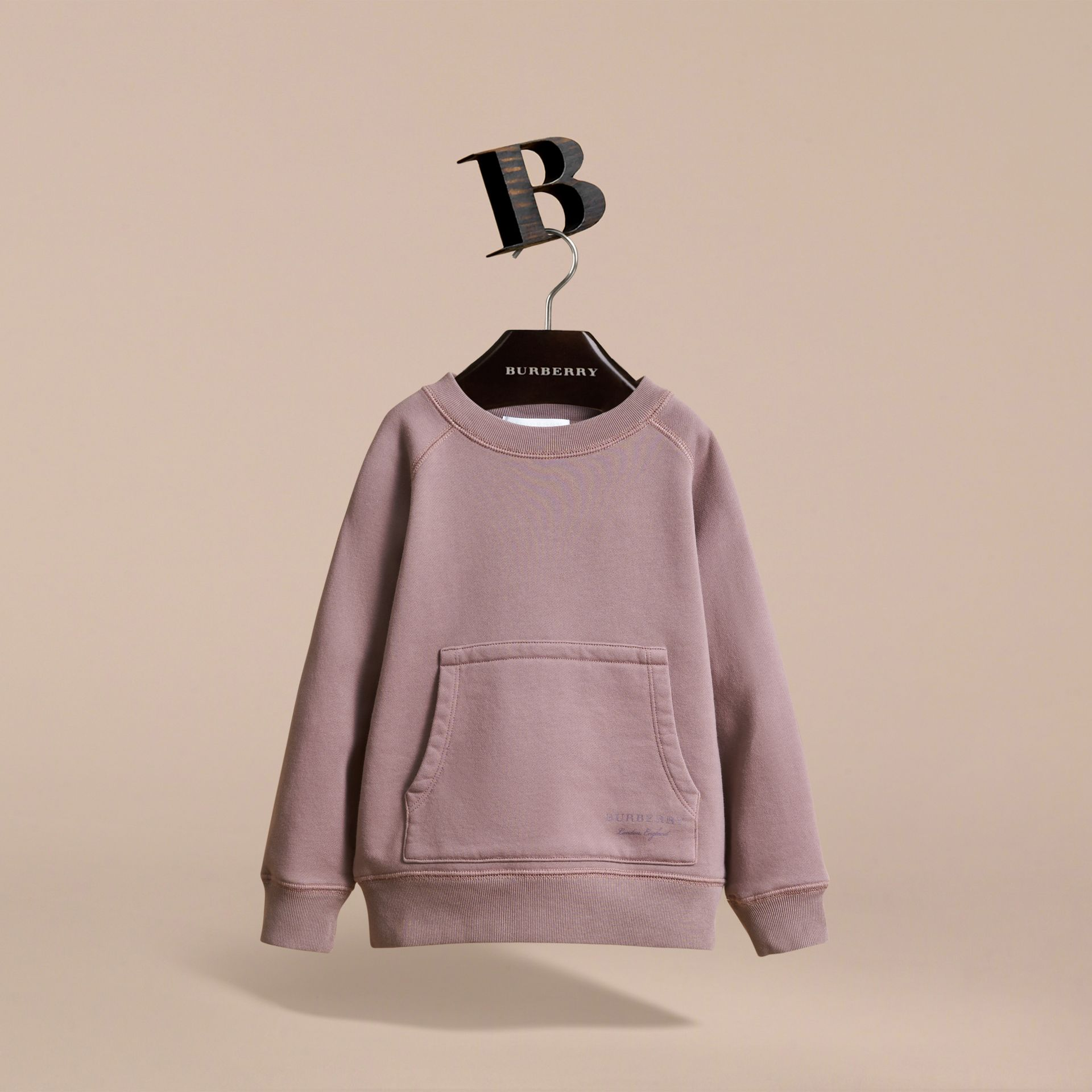 Pigment-dyed Cotton Jersey Sweatshirt in Dusty Mauve | Burberry - gallery image 3