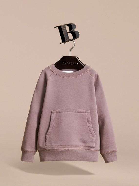 Pigment-dyed Cotton Jersey Sweatshirt in Dusty Mauve - Boy | Burberry Canada - cell image 2