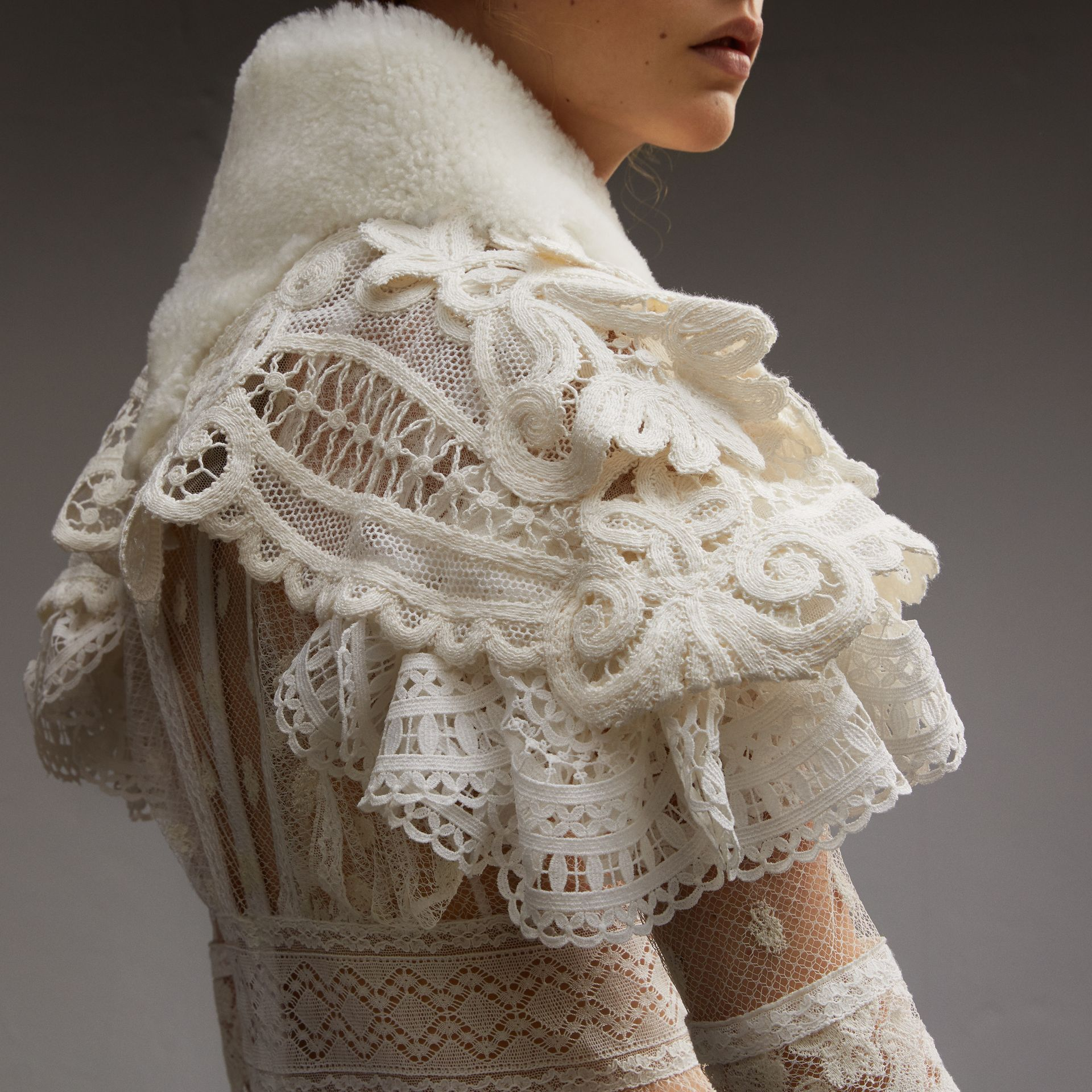 Lace Capelet with Shearling Collar - gallery image 5