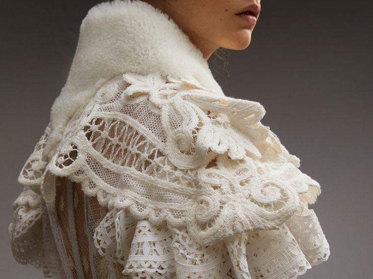 Lace Capelet with Shearling Collar in White - Women | Burberry - cell image 4