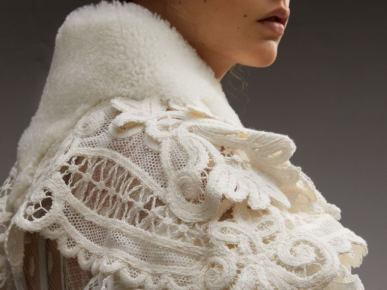 Lace Capelet with Shearling Collar