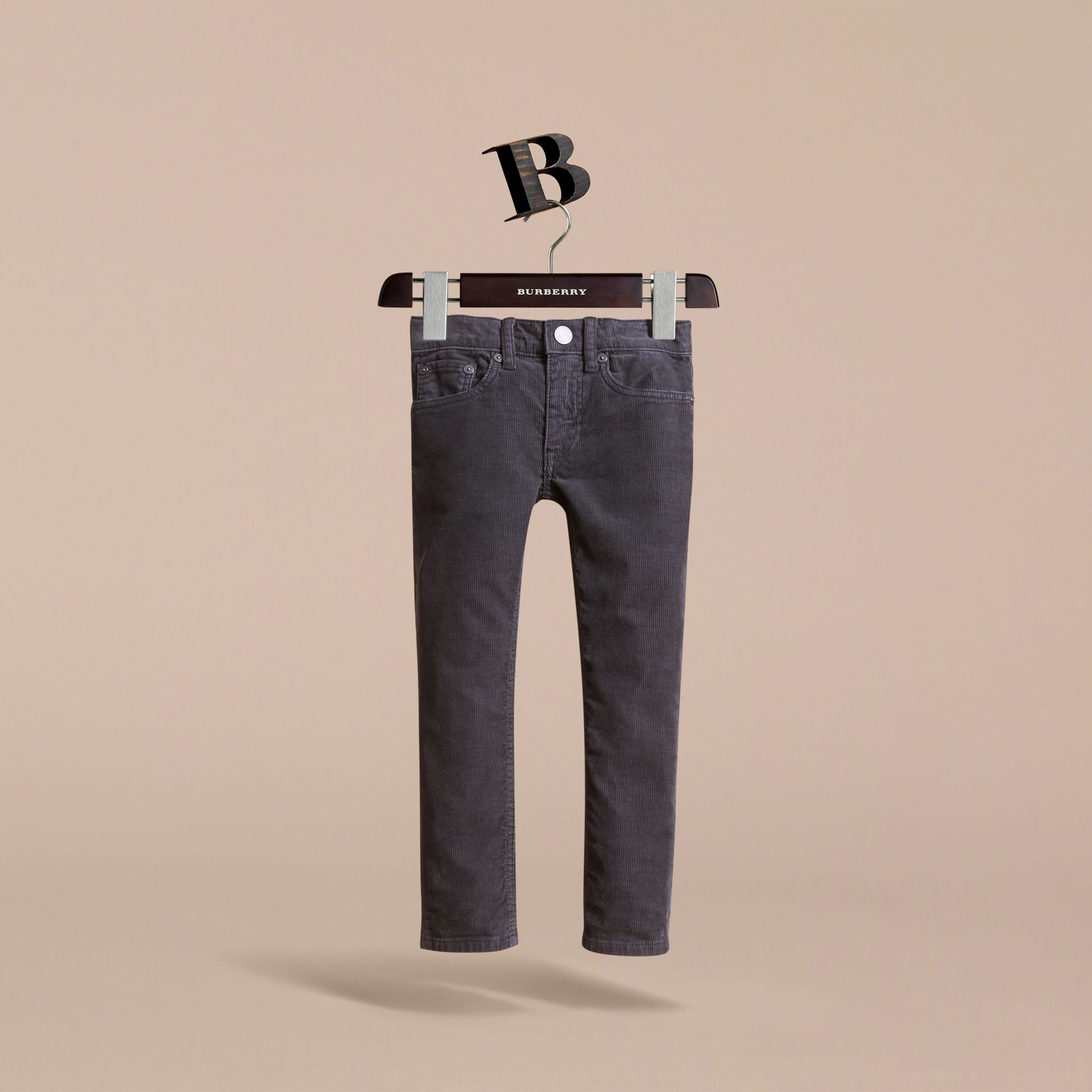 Skinny Fit Stretch Cord Trousers in Dark Grey - Boy | Burberry - gallery image 3
