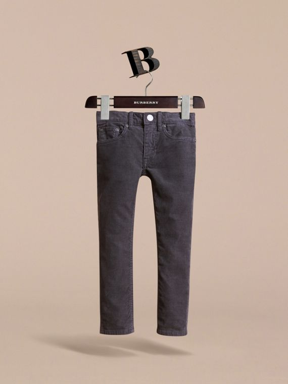 Skinny Fit Stretch Cord Trousers in Dark Grey - Boy | Burberry - cell image 2