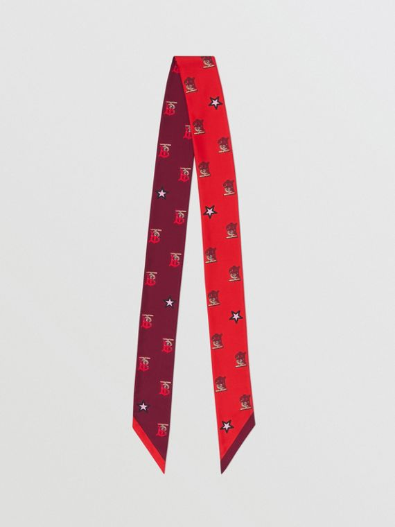 Foulard en soie Monogram (Rouge Vif)