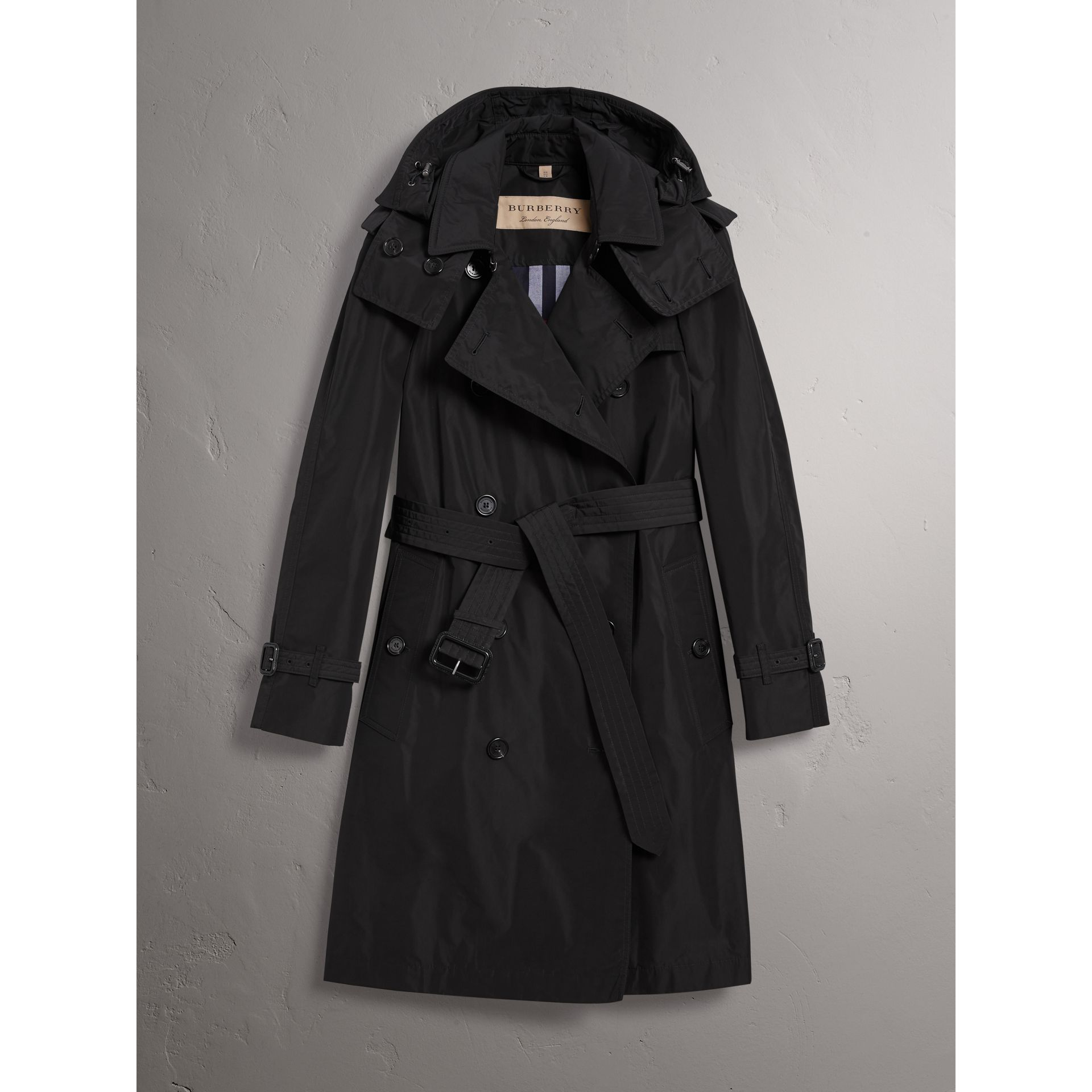 Detachable Hood Taffeta Trench Coat in Black - Women | Burberry United States - gallery image 3