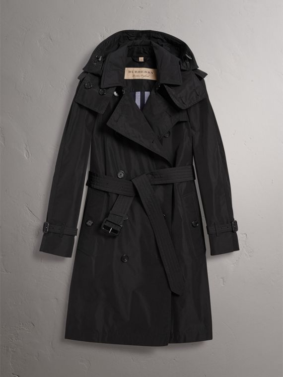 Detachable Hood Taffeta Trench Coat in Black - Women | Burberry United Kingdom - cell image 3