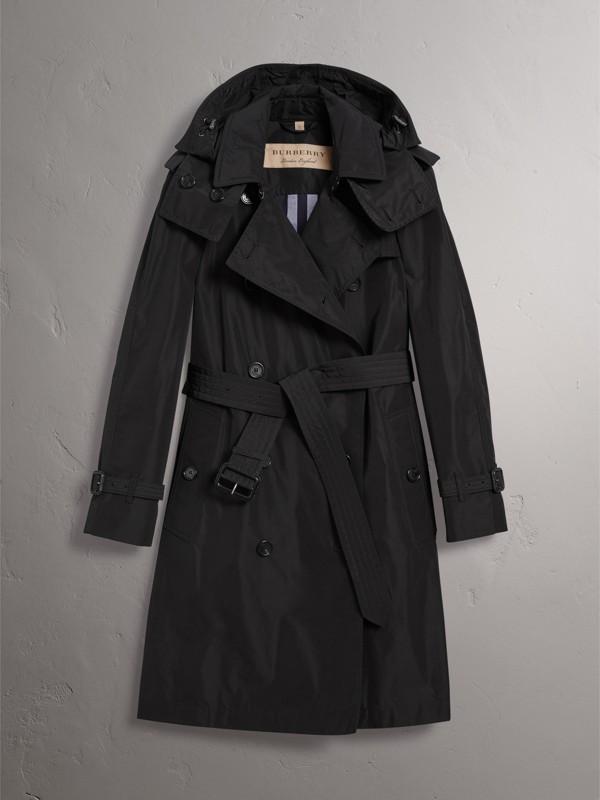 Trench coat de tafetá com capuz removível (Preto) - Mulheres | Burberry - cell image 3