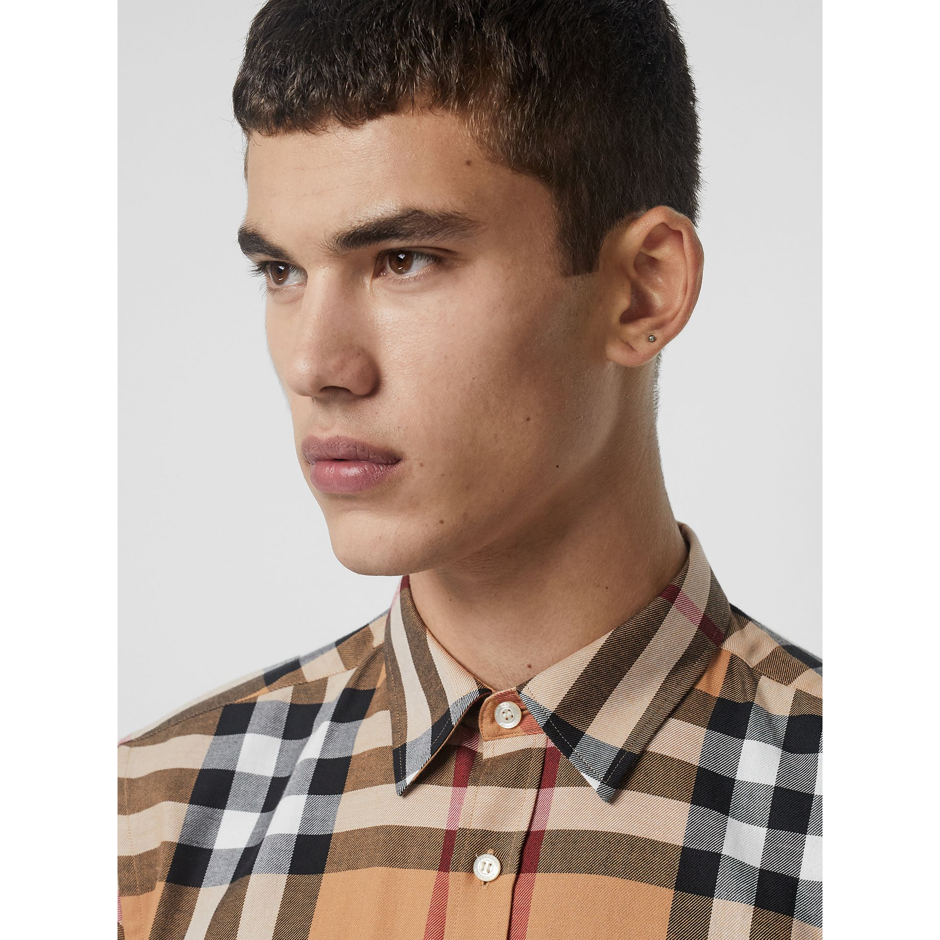 Check Cotton Flannel Shirt in Camel - Men | Burberry Singapore - gallery image 1