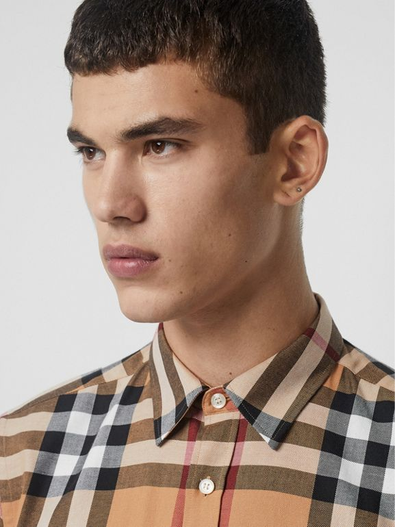Check Cotton Flannel Shirt in Camel - Men | Burberry Singapore - cell image 1