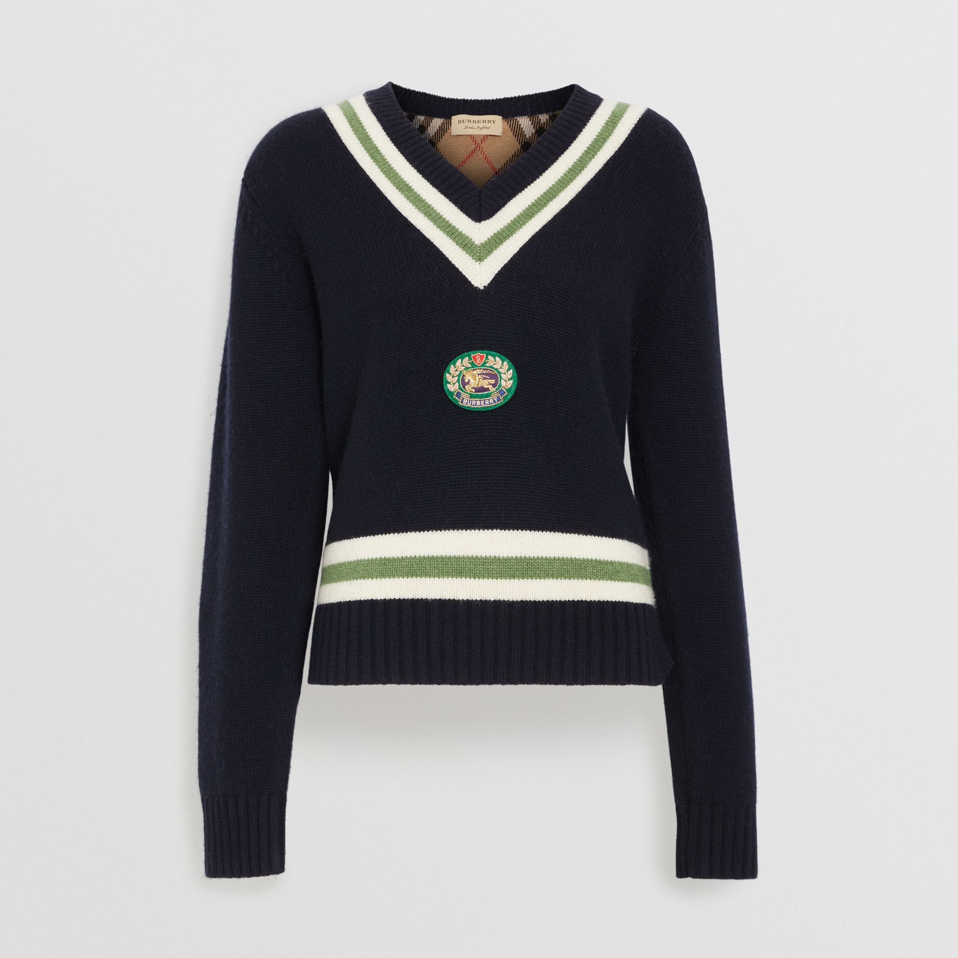 Embroidered Crest Wool Cashmere Sweater in Navy - Women | Burberry United Kingdom - gallery image 3